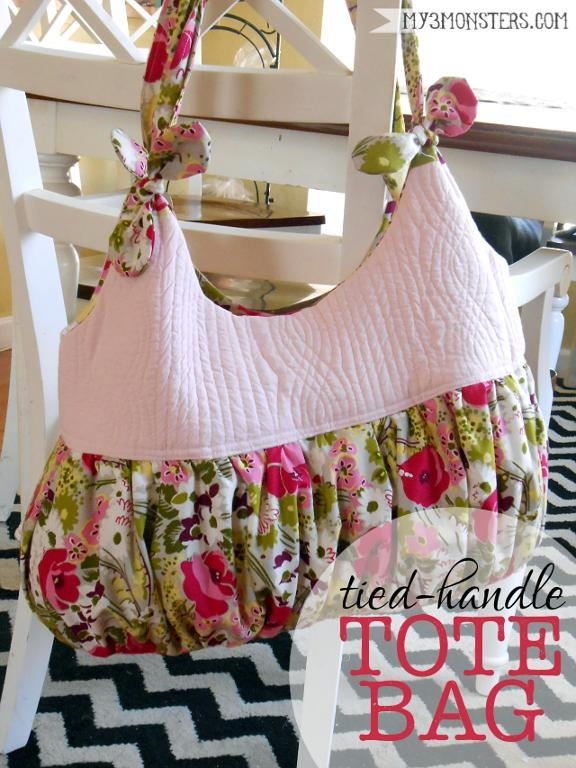 Tied-handle tote bag