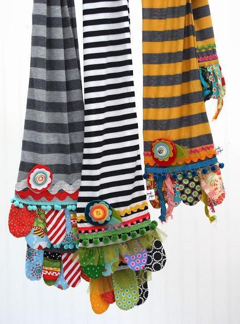 Scrappy happy scarves tutorial