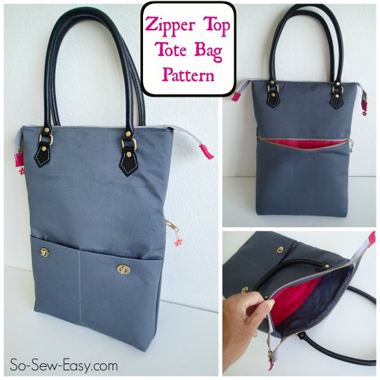 Zipper top tote bag pattern