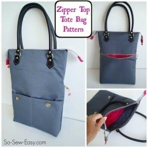 Zipper tote bag pattern