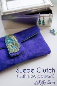 Suede clutch purse
