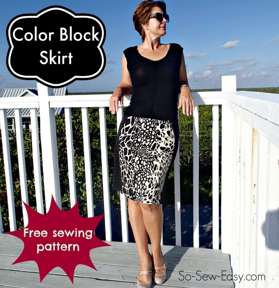 Color block skirt pattern