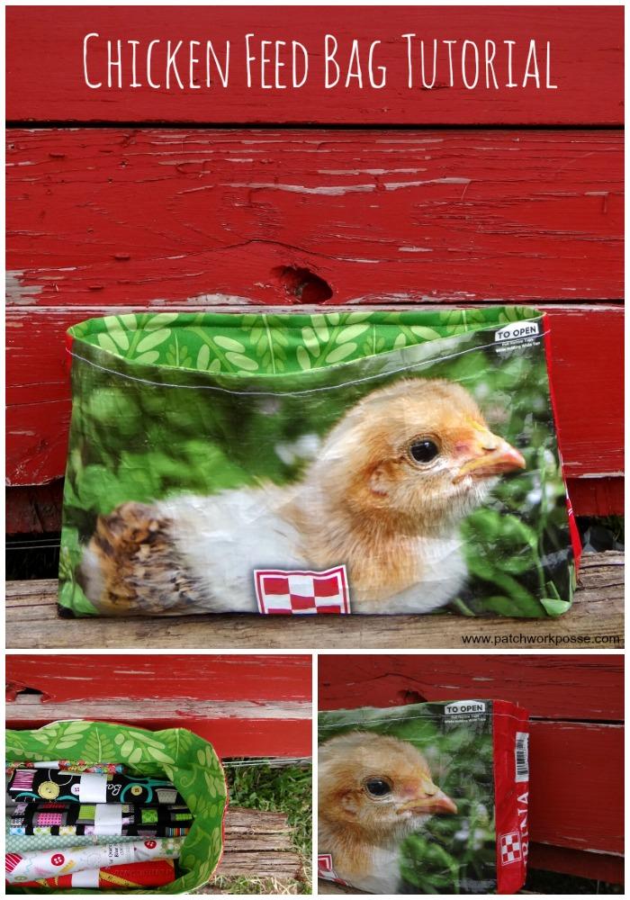 Chicken feed bag tutorial
