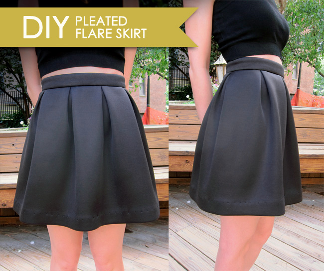 Pleated flare skirt pattern