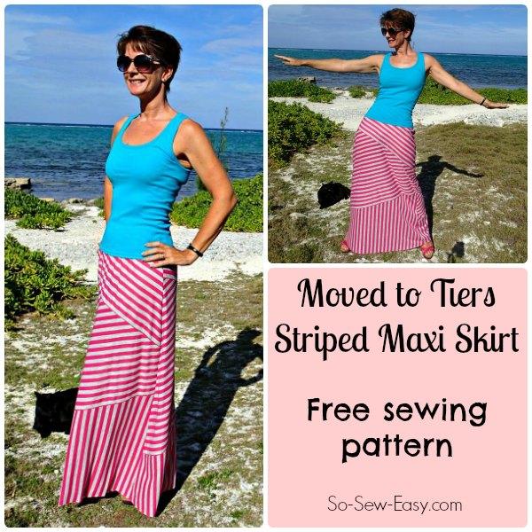 Striped maxi skirt pattern