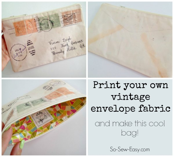 Vintage envelope zipper pouch