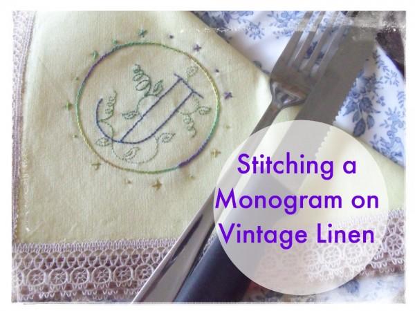 Vintage monogrammed linen sheets