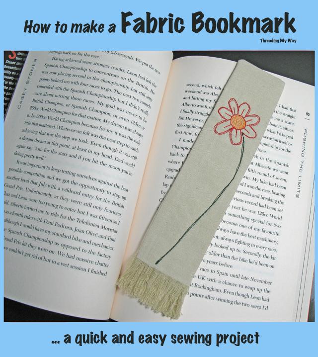 Flower fabric bookmark