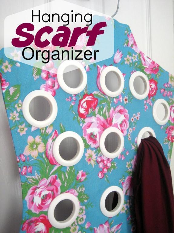 DIY Hanging Scarf Organizer