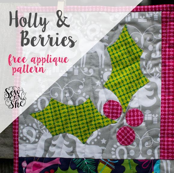 Holly and Berries Applique Pattern