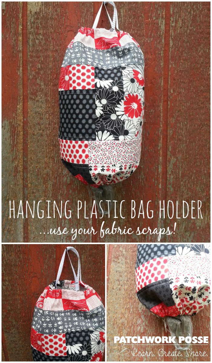 Scrappy Patchwork Plastic Bag Holder Tutorial Sewing 4 Free