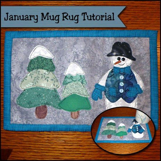 Snow mug rug tutorial