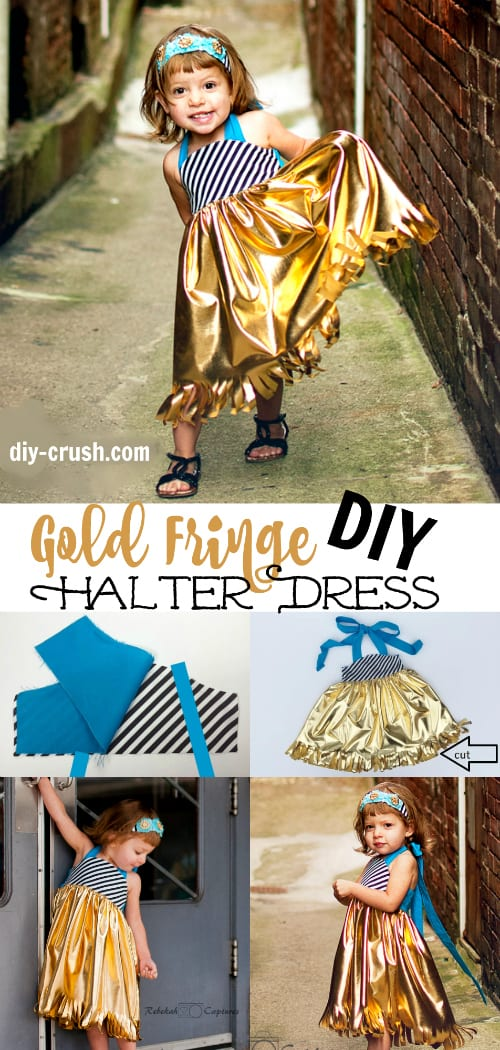 Gold fringe halter dress tutorial