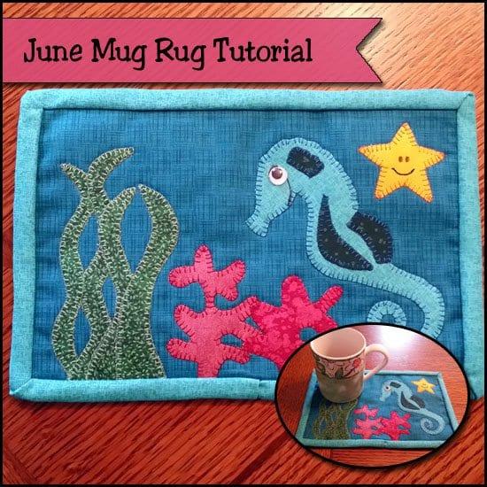 Seahorse mug rug tutorial