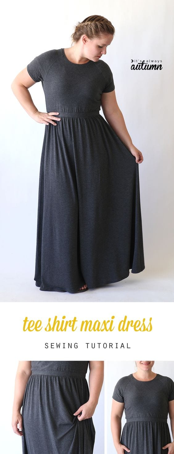 Raglan tee maxi dress tutorial