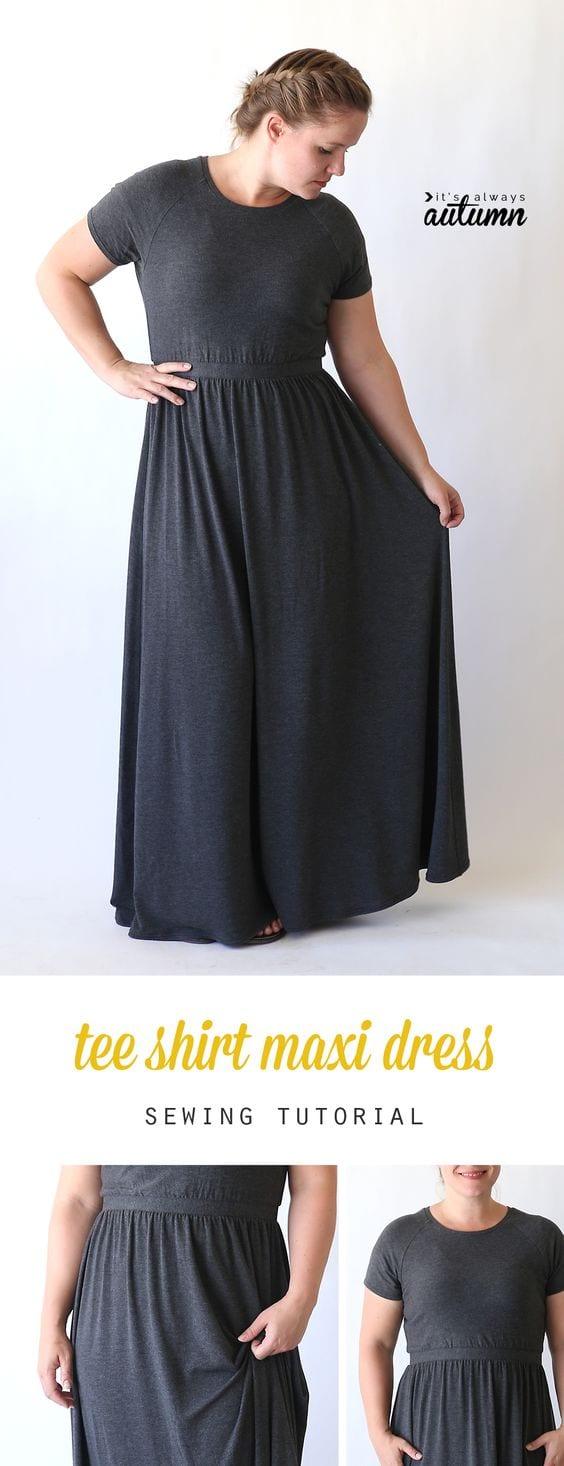 Raglan tee maxi dress tutorial