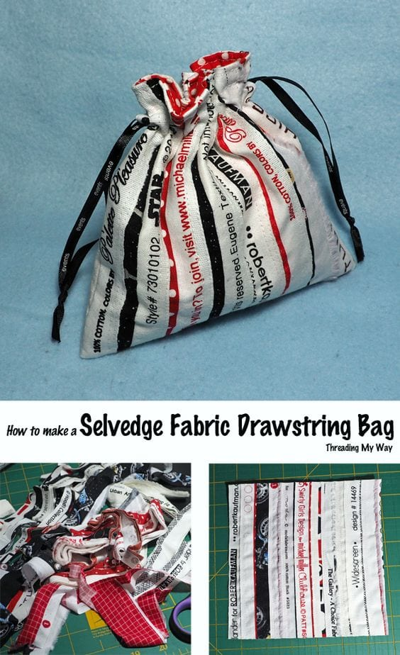 Selvage drawstring bag tutorial