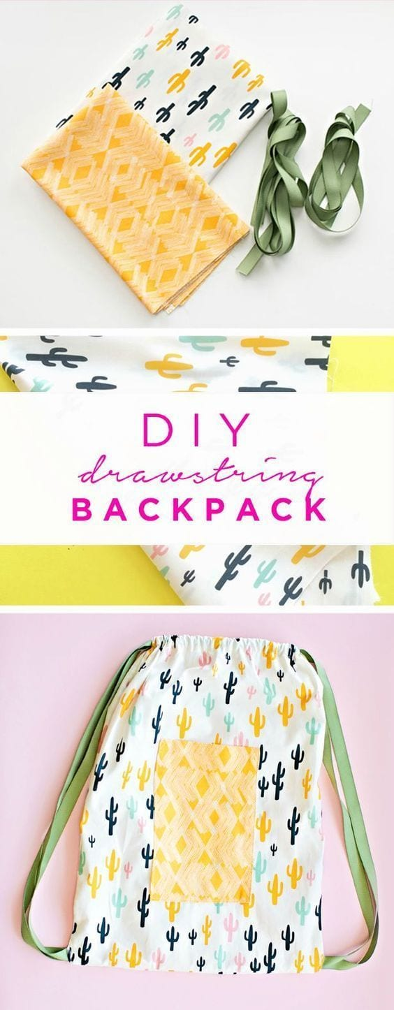 drawstring back pack tutorial.