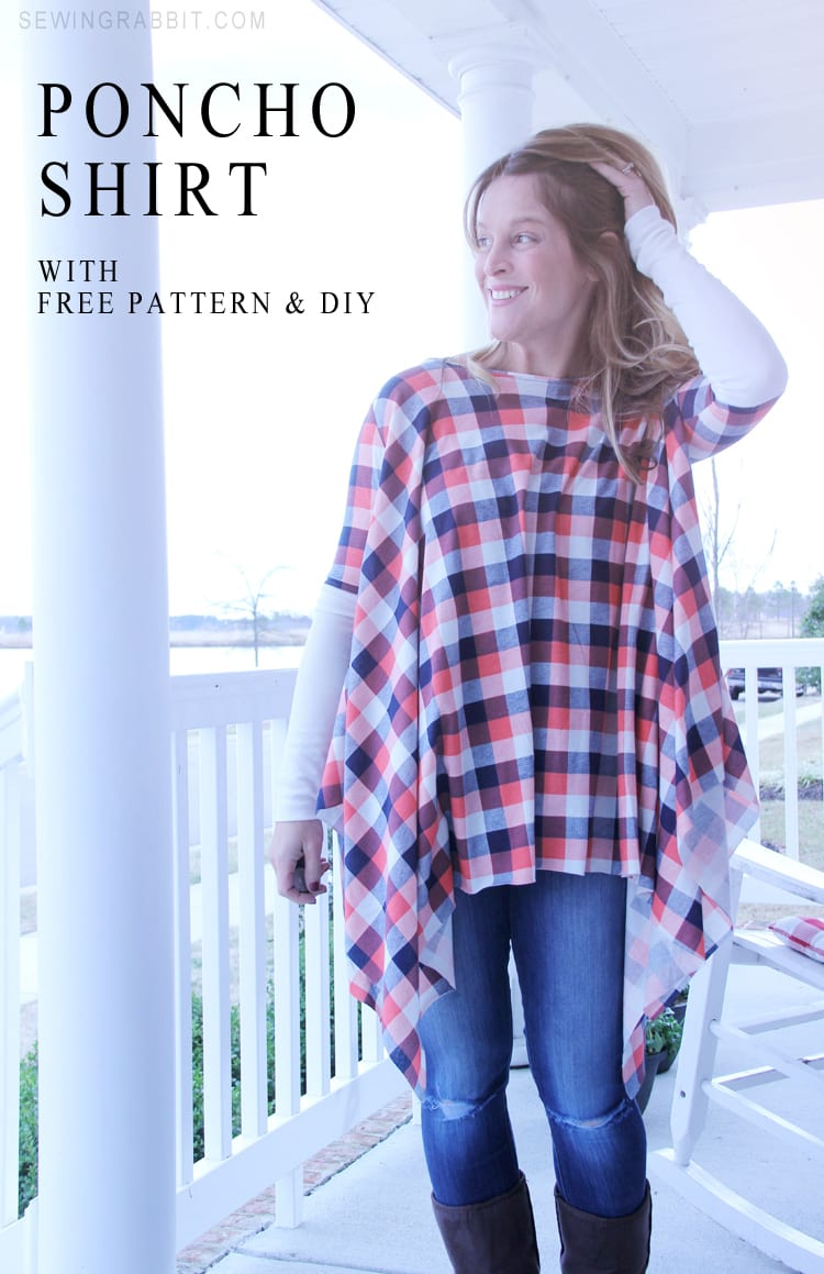 Tops sewing 4 free free hoodie pattern and tutorial how to make a poncho shirt jeuxipadfo Images