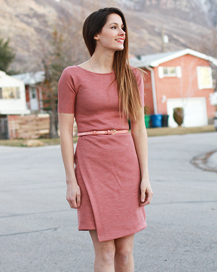 Asymmetrical Knit Sheath Dress