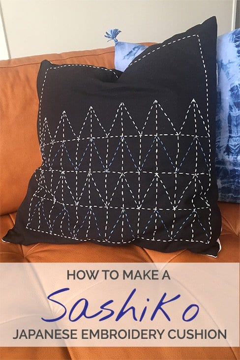 Sashiko Japanese Embroidery Cushion