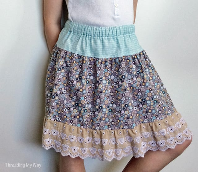Elastic Waist Skirt with a Lace Ruffle