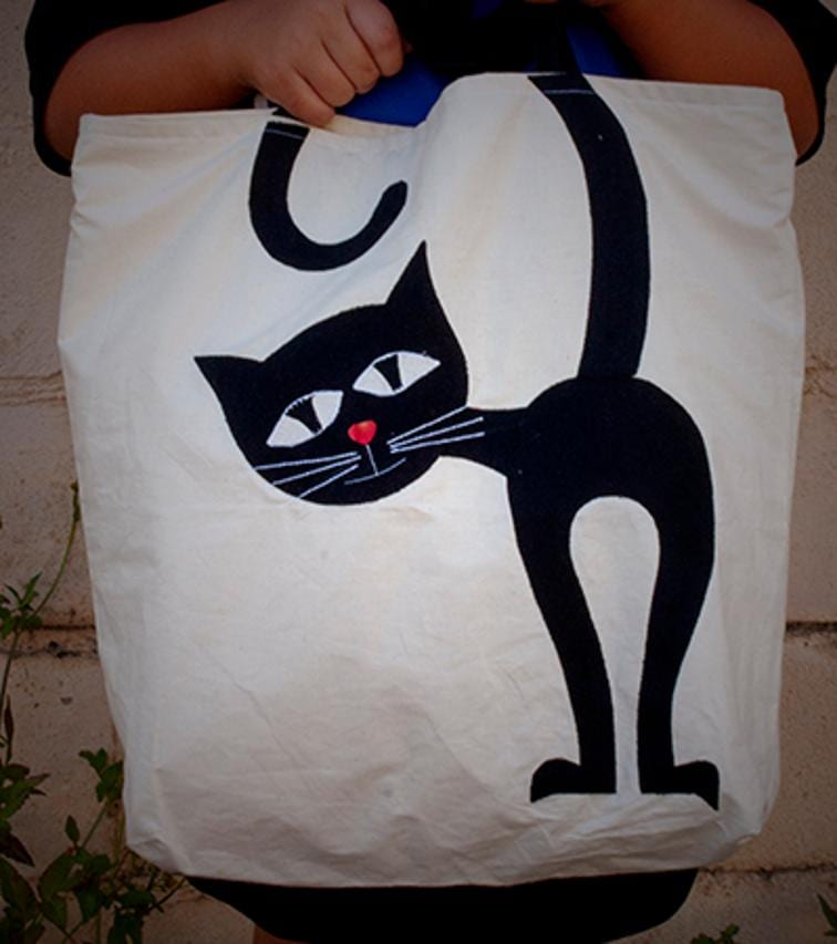 Applique Cat Tote Bag