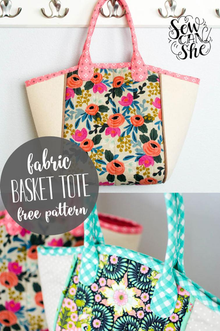 basket tote free sewing pattern