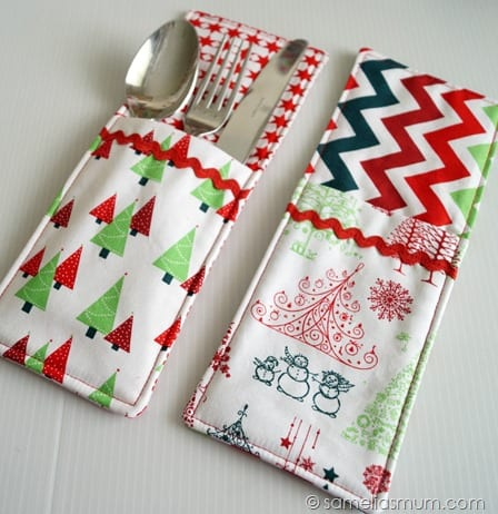 Festive Cutlery Pockets FREE Tutorial