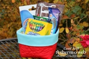square fabric gift basket