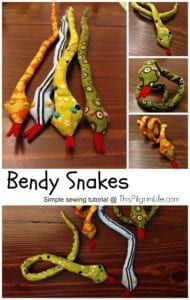 bendy snakes free sewing tutorial