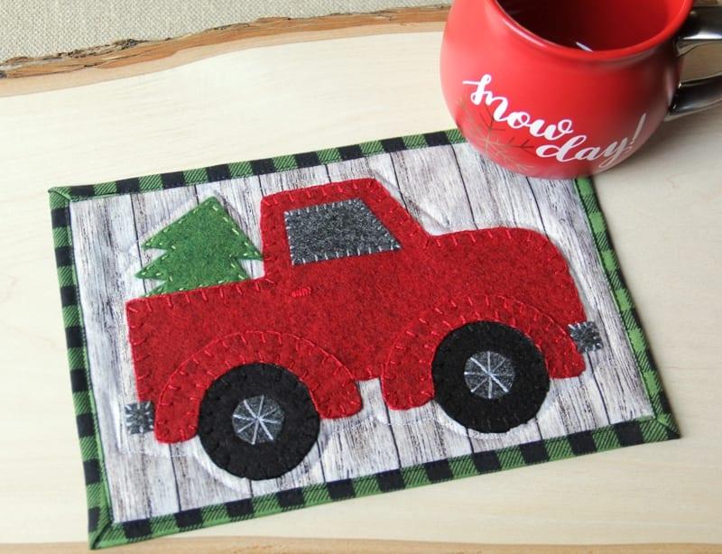 Red Truck Mug Mat FREE Sewing Pattern