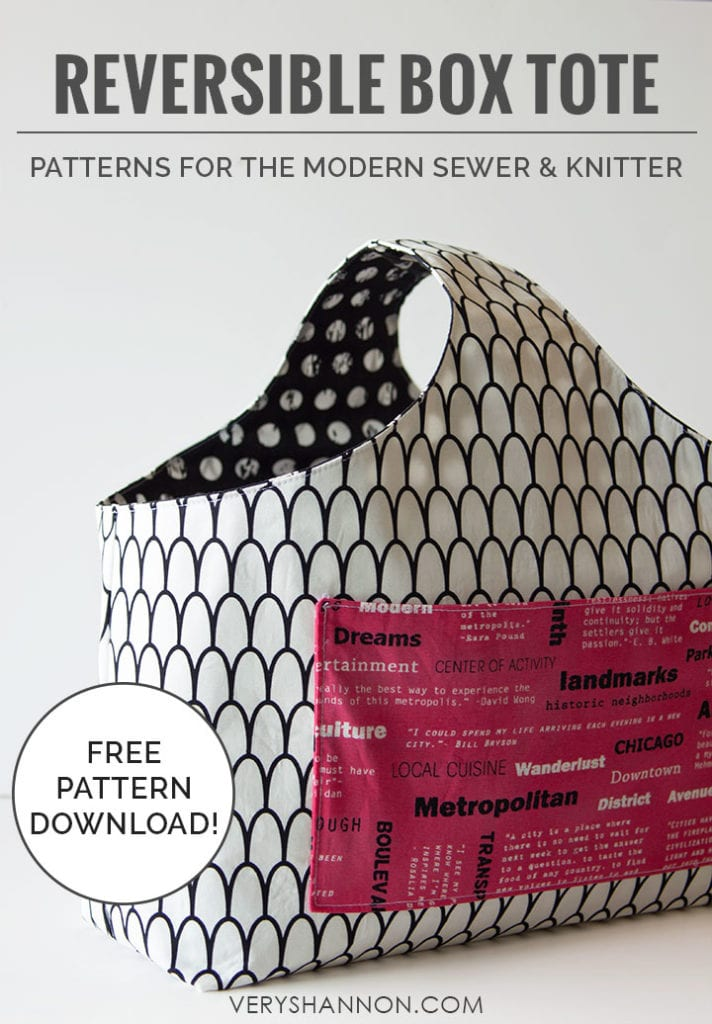 Reversible Box Tote Free Sewing Pattern