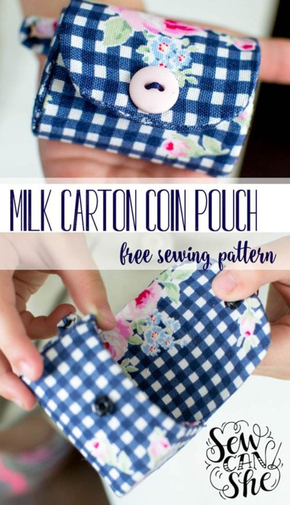 Milk Carton Coin Purse FREE Sewing Pattern