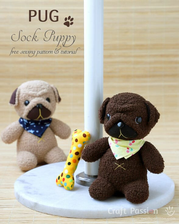 Sock Pug Puppy FREE Sewing Pattern