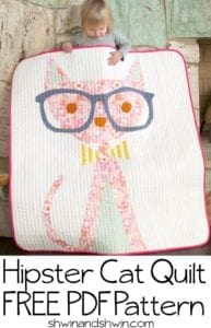 Hipster Cat Quilt FREE Pattern and Tutorial