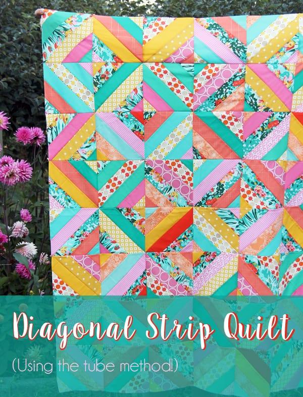 Diagonal Strip Quilt FREE Tutorial