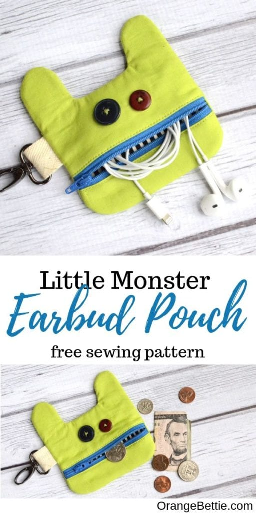 Monster Earbud Pouch FREE Sewing Pattern