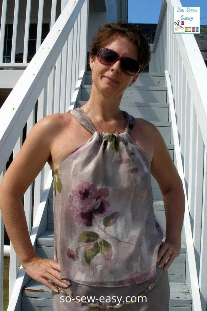 Self Drafted Halter Neck Blouse in Chiffon