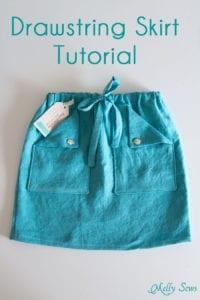 Drawstring Skirt FREE Sewing Tutorial