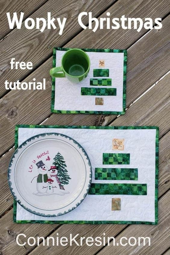 Wonky Christmas Tree Quilt FREE Tutorial