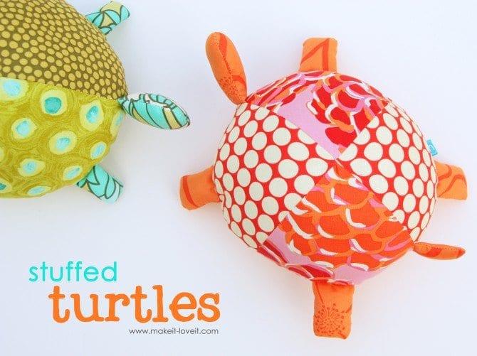 Stuffed Fabric Turtles FREE Sewing Pattern