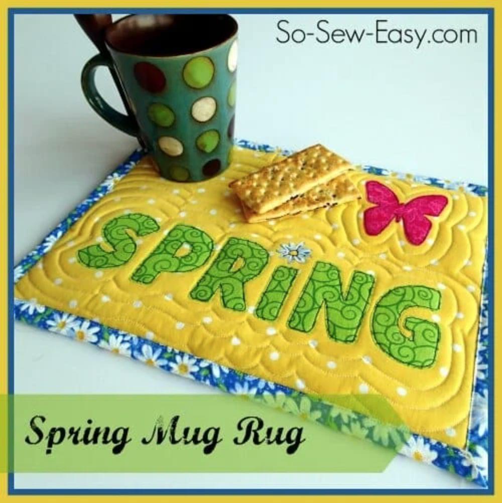 Spring Mug Rug with FREE Template