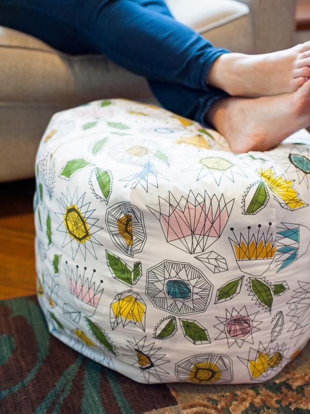 Fabric Pouf Ottoman FREE Sewing Pattern
