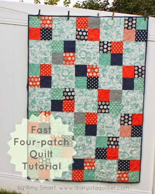 Fast Four Patch Quilt FREE Tutorial