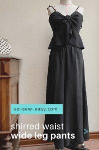Shirred Waist Wide Leg Pants FREE Sewing Pattern