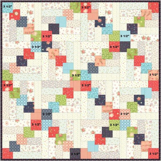 Stacked Squares Quilt Block Pattern