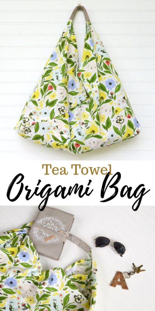 Tea Towel Origami Bag FREE Sewing Tutorial