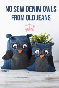 No Sew Denim Owls